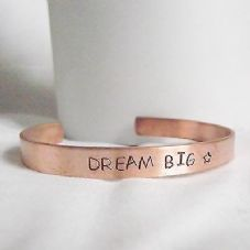 "Lovely Handmade Recycled Copper ""Dream Big"" Statement Cuff Bangle Unique Gift"